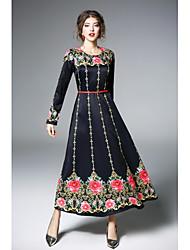 abordables -Mujer Boho Corte Swing Vestido Floral Maxi