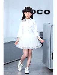 Pige Tøjsæt Daglig I-byen-tøj Ensfarvet,Bomuld Polyester Forår Langt Ærme Sødt Afslappet Hvid