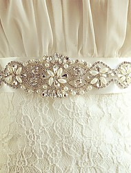 cheap -Silk Like Satin Wedding Special Occasion Sash With Rhinestone Crystal Imitation Pearl Women's Sashes