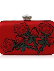 Недорогие -Жен. Мешки PU Вечерняя сумочка Кристаллы / Вышивка Цвет шампанского / Красный
