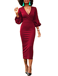 cheap -Women's Daily Work Sexy Street chic Bodycon DressSolid V Neck Midi Long Sleeve Polyester Spring Fall High Waist Micro-elastic Opaque