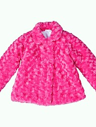cheap -Girls' Causal Daily Solid Trench Coat, Polyester Long Sleeves Cute Active White Fuchsia