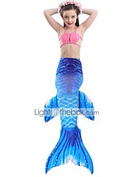 cheap -The Little Mermaid Skirt Swimwear Bikini Kid Christmas Masquerade Festival / Holiday Halloween Costumes Orange Blue Color Block