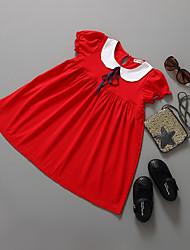 abordables -Robe Fille de Sortie Couleur Pleine Coton Eté Manches Courtes Princesse Rouge