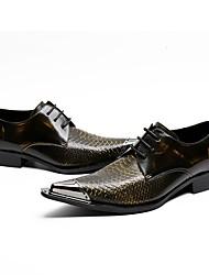 preiswerte -Herren Schuhe Echtes Leder Frühling Herbst Neuheit formale Schuhe Outdoor für Hochzeit Party & Festivität Schwarz und Gold