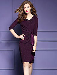 cheap -Women's Plus Size Street chic Bodycon Dress - Solid Colored, Bow Ruched V Neck