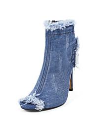 cheap -Women's Shoes Denim Spring Summer Comfort Sandals Stiletto Heel Peep Toe Open Toe for Casual Blue Dark Blue