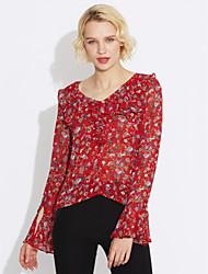 cheap -Women's Daily Casual Blouse,Print Asymmetrical Long Sleeves Acrylic Medium