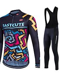cheap -Cycling Jersey with Bib Tights Men's Unisex Bike Bib Tights Tights Pants / Trousers Jersey Top Clothing Suits Winter Fleece Bike Wear
