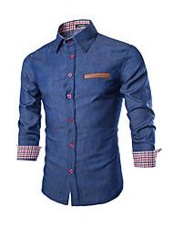 Langt Ærme Krave Herrer Farveblok Afslappet Daglig Skjorte,Bomuld