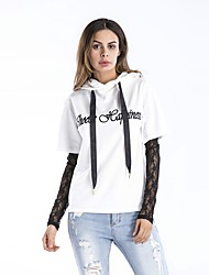 cheap -Women's Daily Sports Cute Casual Street chic Hoodie Solid Hooded Micro-elastic Cotton Acrylic Polyester Spandex Others Mesh/Net Long