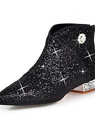 cheap -Women's Shoes Sparkling Glitter Paillette Synthetic Winter Fall Fashion Boots Bootie Boots Crystal Heel Pointed Toe Booties/Ankle Boots