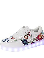cheap -Women's Flats Light Up Shoes Comfort Novelty Fall Winter PU Casual Outdoor Lace-up Flat Heel Red Black Flat