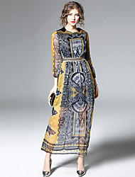 cheap -Women's Casual/Daily Boho Swing Dress,Print Round Neck Maxi Long Sleeve Polyester Spring Fall Mid Rise Micro-elastic Thin