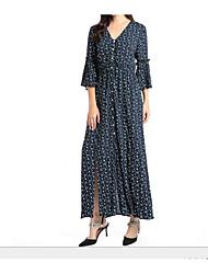 cheap -Women's Daily Boho A Line Dress,Floral Shirt Collar Maxi Long Sleeve Polyester Winter High Waist Inelastic Opaque