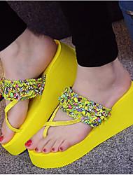 Недорогие -Жен. Обувь Этиленвинилацетат Лето Удобная обувь Тапочки и Шлепанцы Туфли на танкетке Открытый мыс для Повседневные Черный Желтый Зеленый