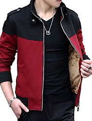 cheap -Men's Daily Going out Casual Winter Fall JacketColor Block Shirt Collar Long Sleeve Regular Cotton Acrylic Polyester