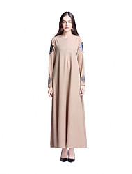 cheap -Ethnic/Religious Jalabiya Kaftan Dress Abaya Arabian Dress Women's Festival / Holiday Halloween Costumes Beige Purple Blue Solid Ethnic