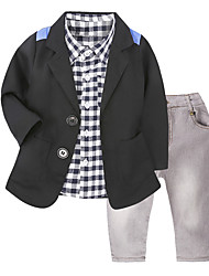 Недорогие -Мальчики Набор одежды Повседневные Школа Хлопок Гусиная лапка Все сезоны Длинный рукав На каждый день Уличный стиль Черный