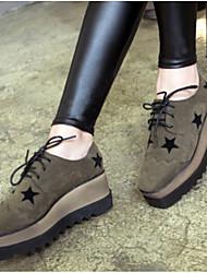 Недорогие -Жен. Обувь Полиуретан Зима Удобная обувь Туфли на шнуровке На плоской подошве Закрытый мыс Черный / Военно-зеленный