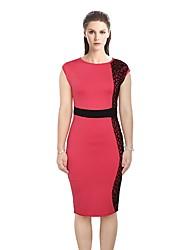 cheap -Women's Work Bodycon Sheath Lace Dress - Color Block Lace High Waist