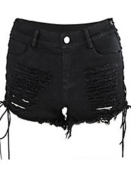 cheap -Women's High Rise Straight Jeans Shorts Pants,Sexy European Style Rock Cool Solid Cotton Spandex Summer
