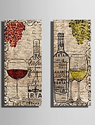 cheap -Stretched Canvas Art Still Life Wine And Wine Glasses Set of 2