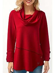 preiswerte -Damen Solide - Retro T-shirt, Rollkragen Baumwolle
