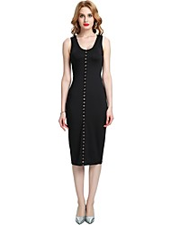 cheap -Women's Party Club Vintage Casual Sexy Bodycon Sheath Dress,Solid Deep U Midi Sleeveless Rayon Polyester Spandex All Season Spring High