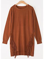Dámské Vintage Dovolená Pouzdro Šaty Jednobarevné,Dlouhé rukávy Kulatý Nad kolena Bavlna Zima Podzim Mid Rise Lehce elastické Neprůhledné
