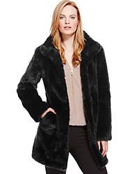 Для женщин На каждый день Зима Осень Пальто с мехом V-образный вырез,Простой Однотонный Обычная Длинные рукава,Искусственный мех,Меховая