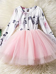 Girl's Daily Going out Solid Floral Print Dress,Cotton Polyester Spring Fall Long Sleeves Cute Princess Blushing Pink Gray