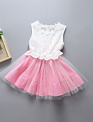 cheap -Girl's Casual/Daily Solid Patchwork Dress,Polyester Spring Summer Sleeveless Simple Blushing Pink