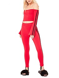 cheap -Women's Short Set - Striped Color Block, Backless Slim Sexy High Waist Pant Boat Neck