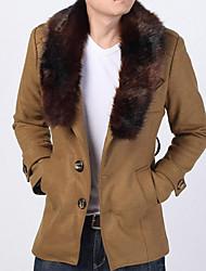 Недорогие -Для мужчин На выход Зима Осень Пальто Воротник Питер Пен,Уличный стиль Однотонный Длинная Длинные рукава,Полиэстер