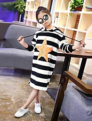Girl's Striped Dress,Cotton Spring Fall Long Sleeves Simple Black Gray