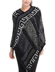 Недорогие -Для женщин Прямоугольная,Зима Осень Шерсть Акрил С принтом Черный Хаки