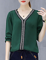 cheap -Women's Blouse - Solid Colored, Beaded V Neck
