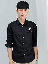Masculino Camisa Social Diário Casual Estampado Algodão Colarinho de Camisa Manga Comprida