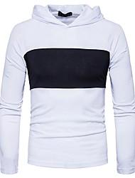 Masculino Camiseta Casual Temática Asiática Primavera Outono,Estampa Colorida Algodão Elastano Com Capuz Manga Comprida Média