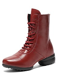 "cheap -Women's Dance Boots Synthetic Microfiber PU Boots Split Sole Outdoor Low Heel Black Red 1"" - 1 3/4"" /"