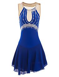 baratos -Vestidos para Patinação Artística Mulheres Para Meninas Patinação no Gelo Vestidos Roxo Azul Pedrarias Espetáculo Roupa para Patinação