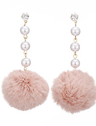 cheap -Women's Pearl Long Drop Earrings - Imitation Pearl, Fur Ball Sweet, Fashion Brown / Green / Pink For Causal / Daily