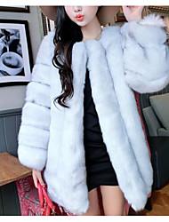 baratos -Mulheres Longo Casaco de Pêlo Casual Para Noite Moda de Rua Inverno Outono, Sólido Pêlo Sintético Decote Redondo Pregueado