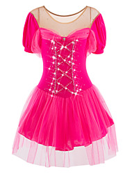cheap -Figure Skating Dress Women's Girls' Ice Skating Dress Vivid Pink Spandex Rhinestone Tulle High Elasticity Performance Skating Wear
