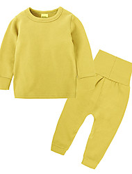 cheap -Boys' Daily Sports Solid Clothing Set, Cotton All Seasons Long Sleeves Casual Gray Yellow Light Green Light Blue Khaki