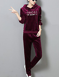 cheap -Women's Casual/Daily Simple Winter Fall Hoodie Pant Suits,Print Hooded Long Sleeve Oversized Cotton Micro-elastic