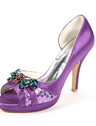 preiswerte -Damen Schuhe Glanz Stretch - Satin Frühling Sommer Pumps Hochzeit Schuhe Stöckelabsatz Peep Toe Kristall für Kleid Party & Festivität