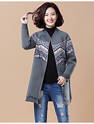 Women's Petite Casual/Daily Simple Hoodie Jacket Print Stand Without Lining Micro-elastic Cotton Polyester Long Sleeve Winter Fall/Autumn