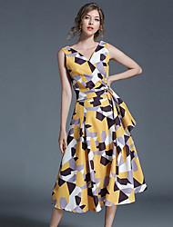 cheap -Women's Casual/Daily Vintage Boho Street chic Swing Dress,Print V Neck Midi Sleeveless Cotton Polyester Summer Mid Rise Micro-elastic Thin